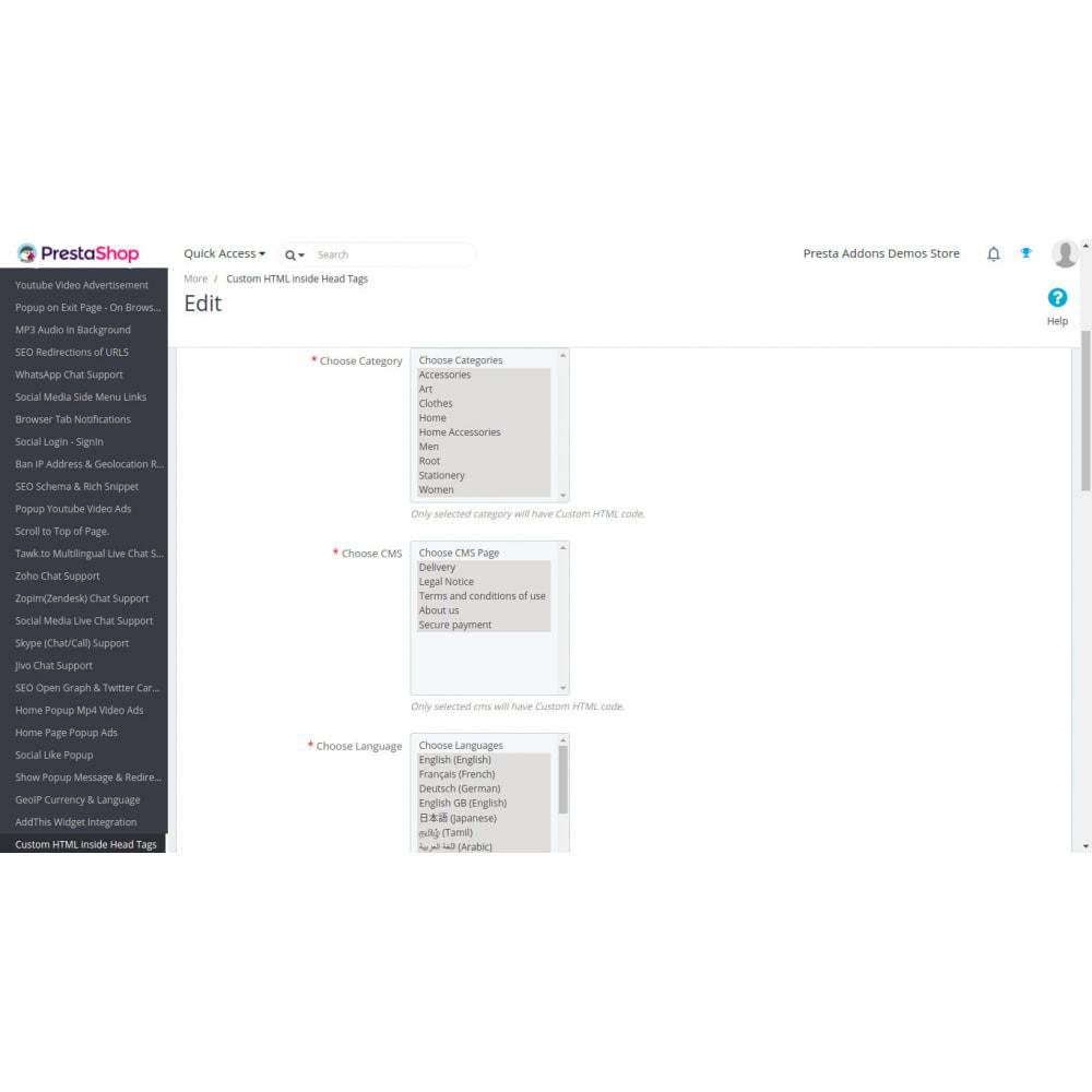 module - SEO (Referenciamento natural) - HTML personalizado, CSS, JS em páginas selecionadas - 2