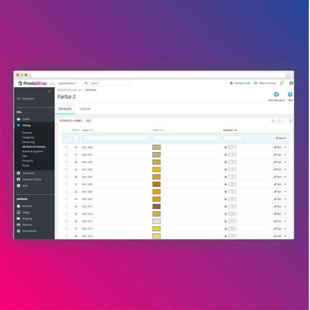 module - Deklinacje & Personalizacja produktów - Bulk colors import - 3