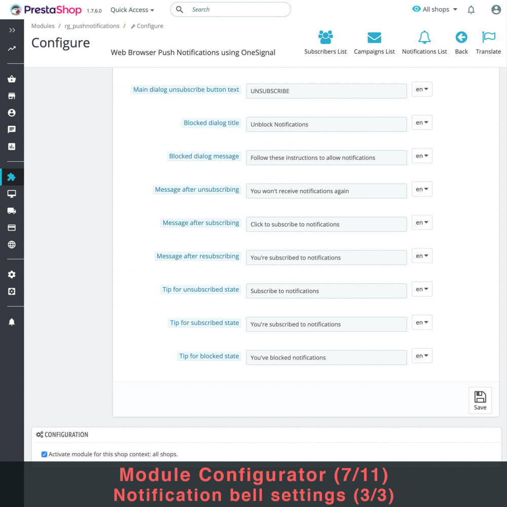 module - Remarketing & Shopping Cart Abandonment - Web Browser Push Notifications using OneSignal - 10