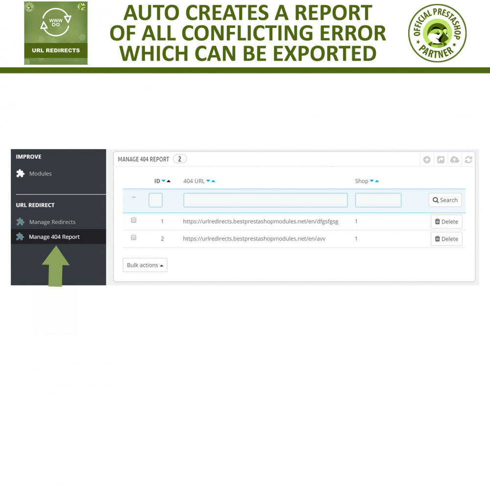 module - URL & Redirects - 301 Redirect -Manage 301, 302, 303 redirects & 404 URLs - 6