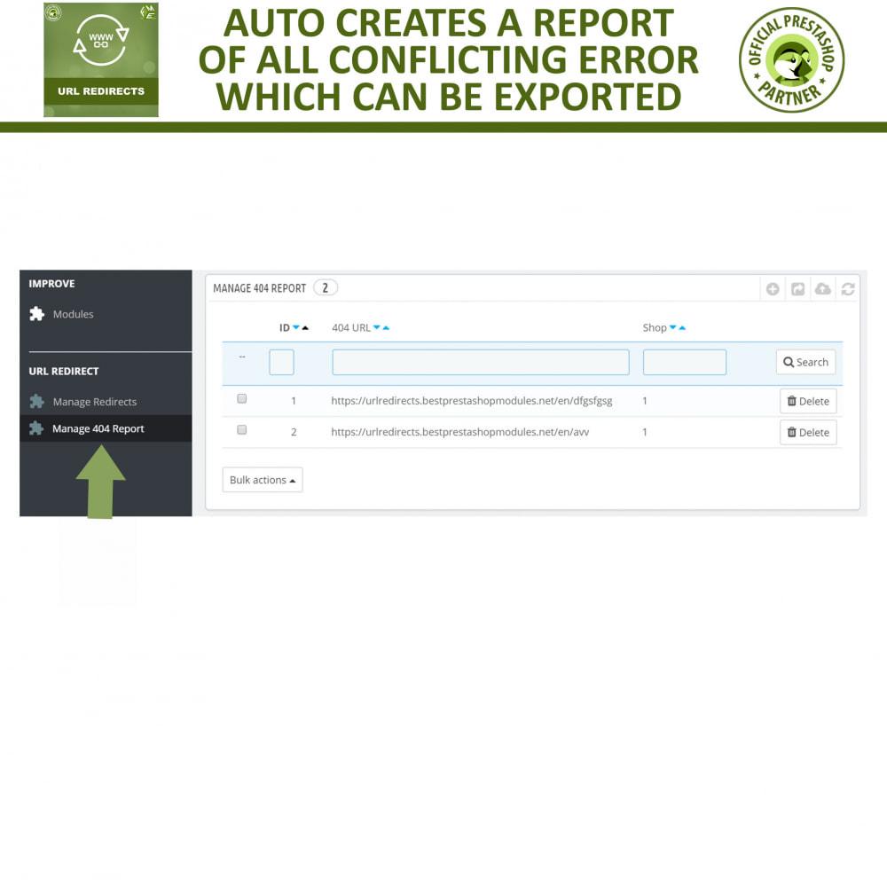 module - Gestão de URL & Redirecionamento - URL Redirect -Manage 301, 302, 303 redirects & 404 URLs - 6