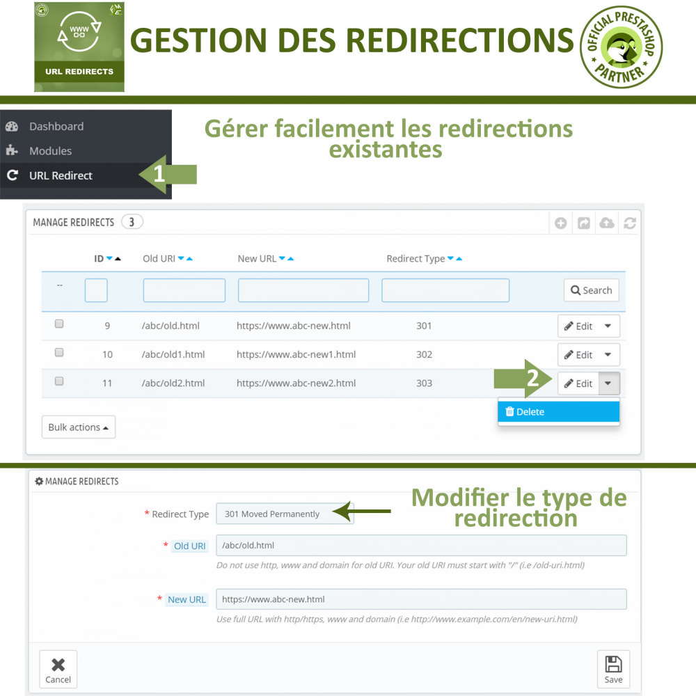 module - URL & Redirections - Redirection d'URL, Gérer 301, 302, 303, et 404 URL - 3