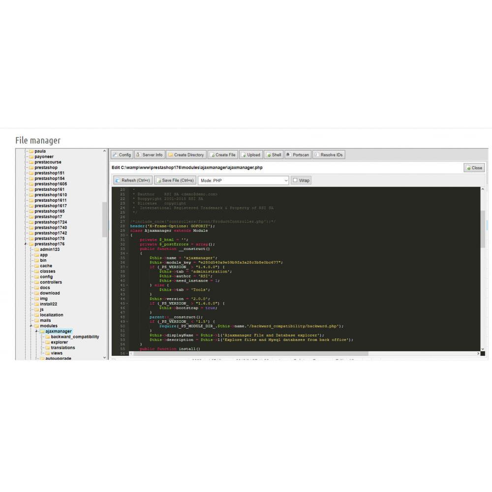module - Amministrazione - Ajax File / Database Manager - 2