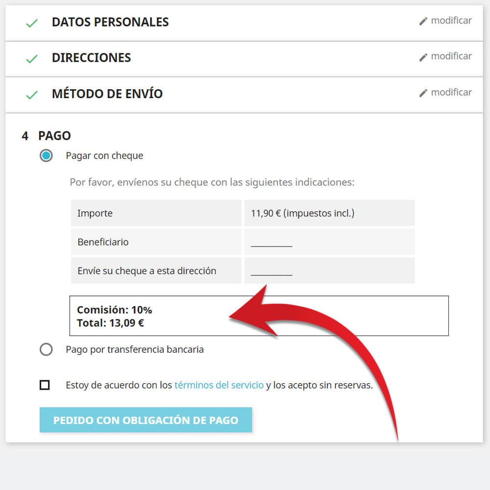 module - Pago a la Entrega (contrarrembolso) - Comisión de los métodos de pago Pago con tarifa - 2