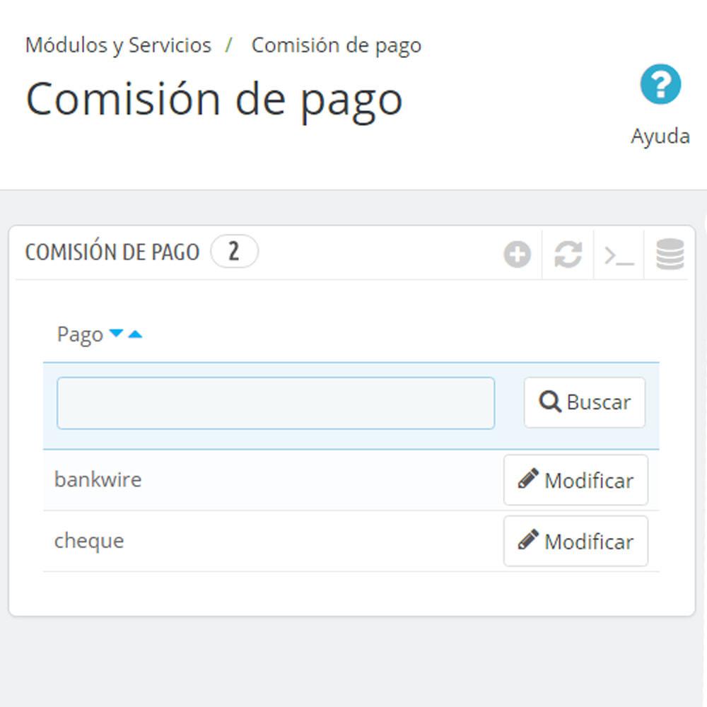 module - Pago a la Entrega (contrarrembolso) - Comisión de los métodos de pago Pago con tarifa - 7