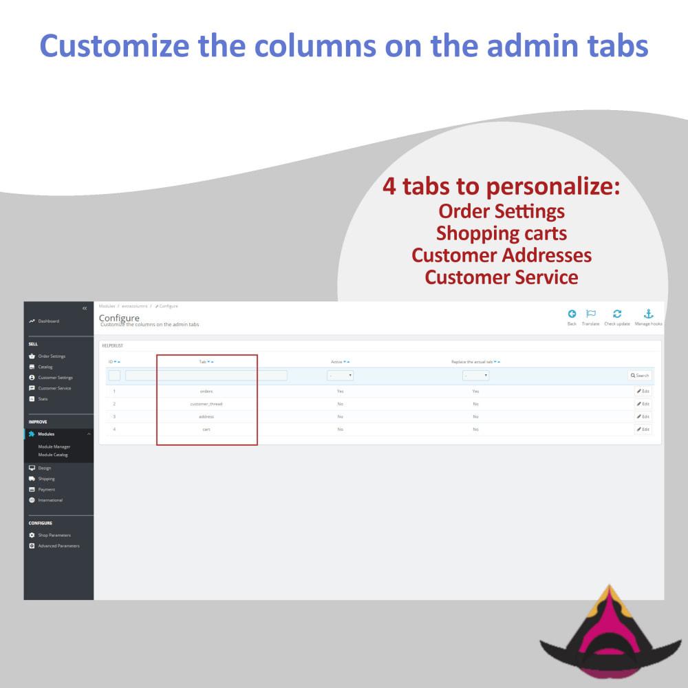 module - Ferramentas de Administração - Customize the columns on the admin lists - 2