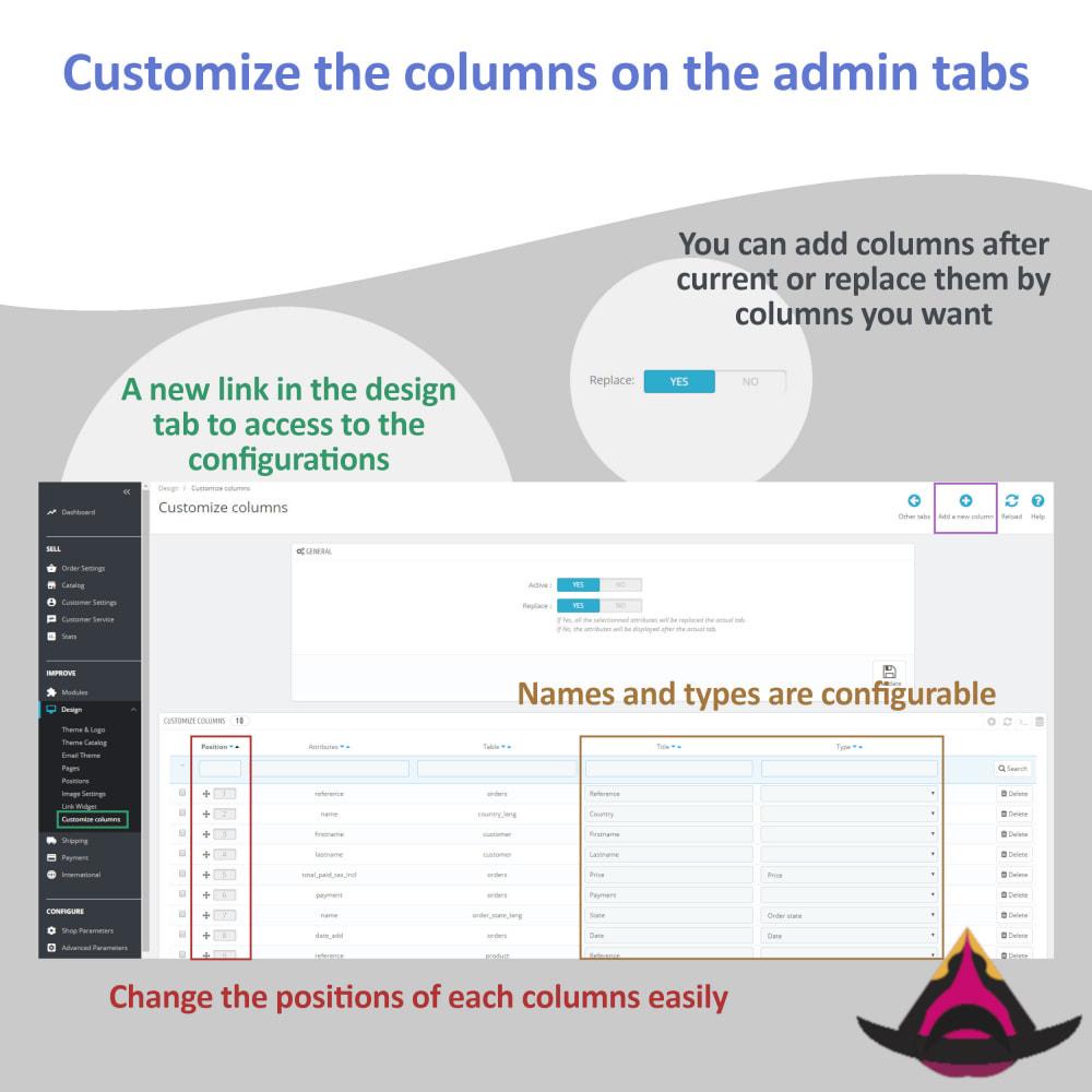 module - Ferramentas de Administração - Customize the columns on the admin lists - 3