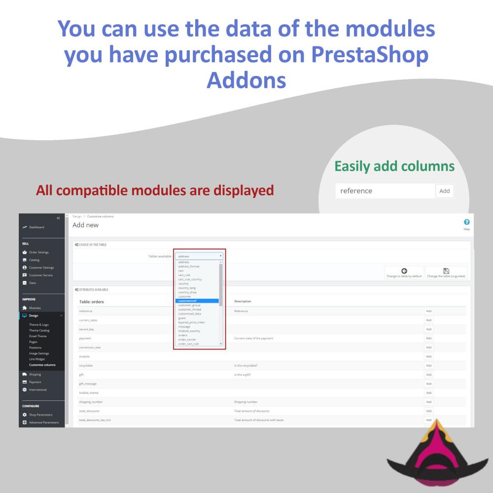 module - Ferramentas de Administração - Customize the columns on the admin lists - 4