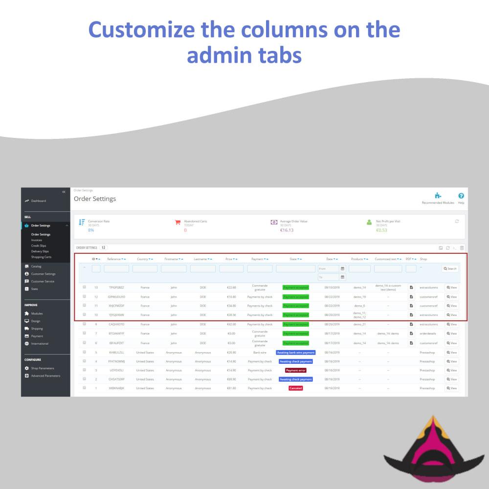 module - Ferramentas de Administração - Customize the columns on the admin lists - 5