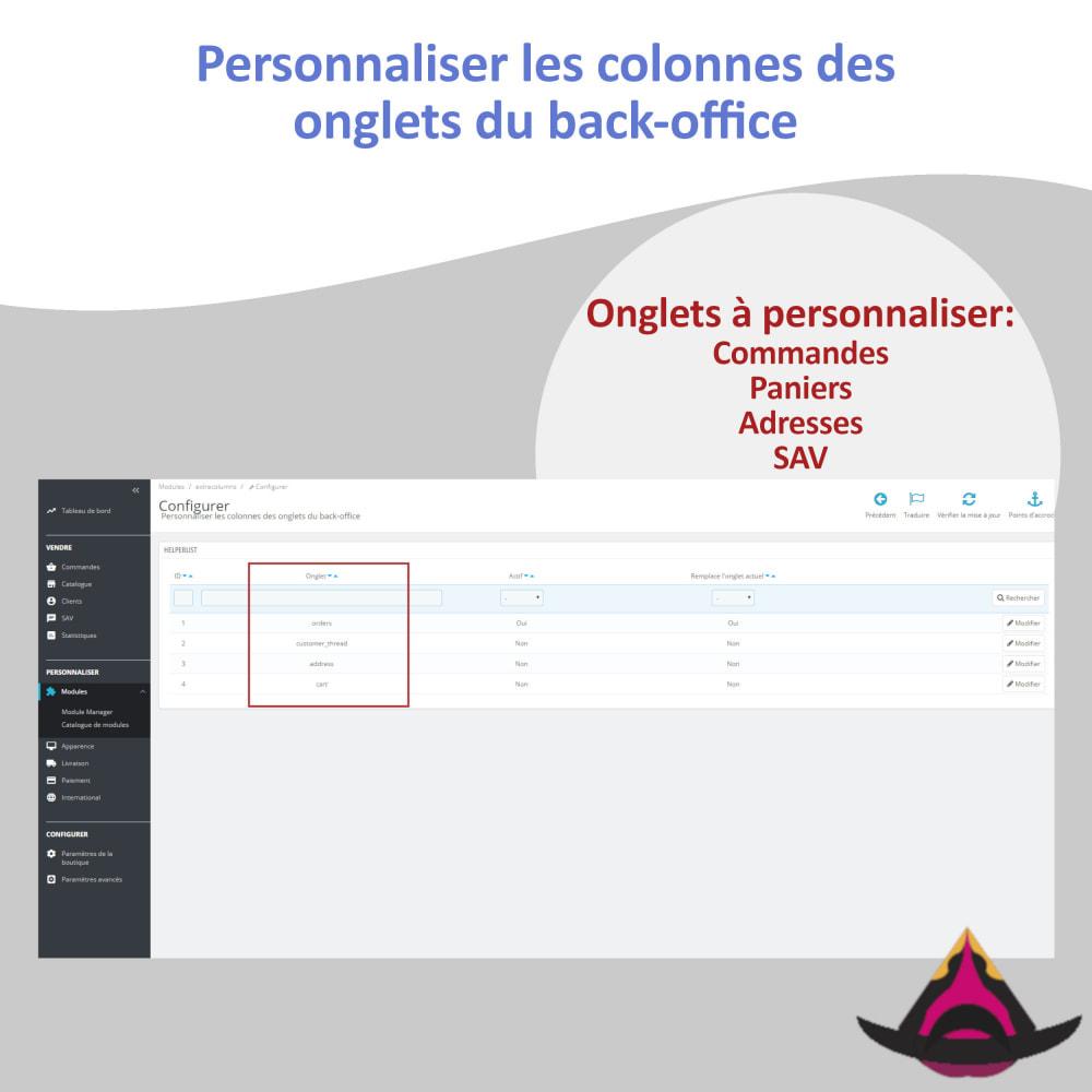 module - Outils d'administration - Personnaliser les colonnes des listes back-office - 2