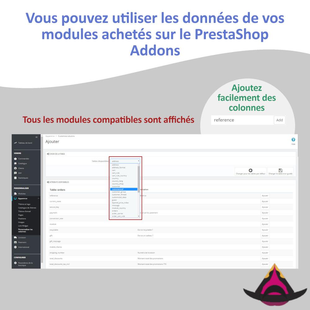 module - Outils d'administration - Personnaliser les colonnes des listes back-office - 4