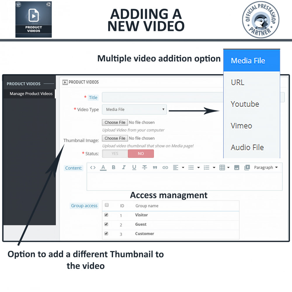 module - Videos & Music - Product Videos - YouTube, Vimeo   Upload or Embed - 11