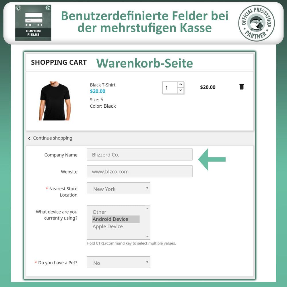 module - Anmeldung und Bestellvorgang - Benutzerdefinierte Felder, Fügen Sie Feld zur Checkout - 4