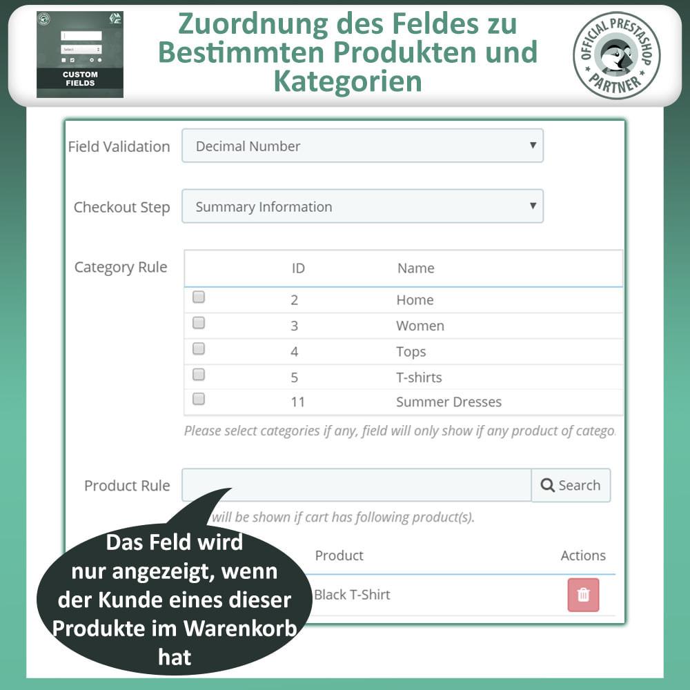 module - Anmeldung und Bestellvorgang - Benutzerdefinierte Felder, Fügen Sie Feld zur Checkout - 11