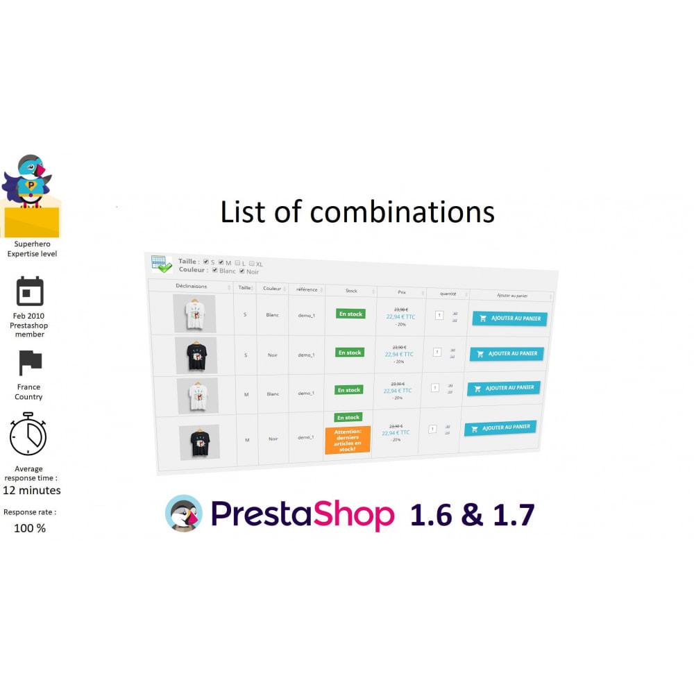 module - Deklinacje & Personalizacja produktów - List of combinations - 1