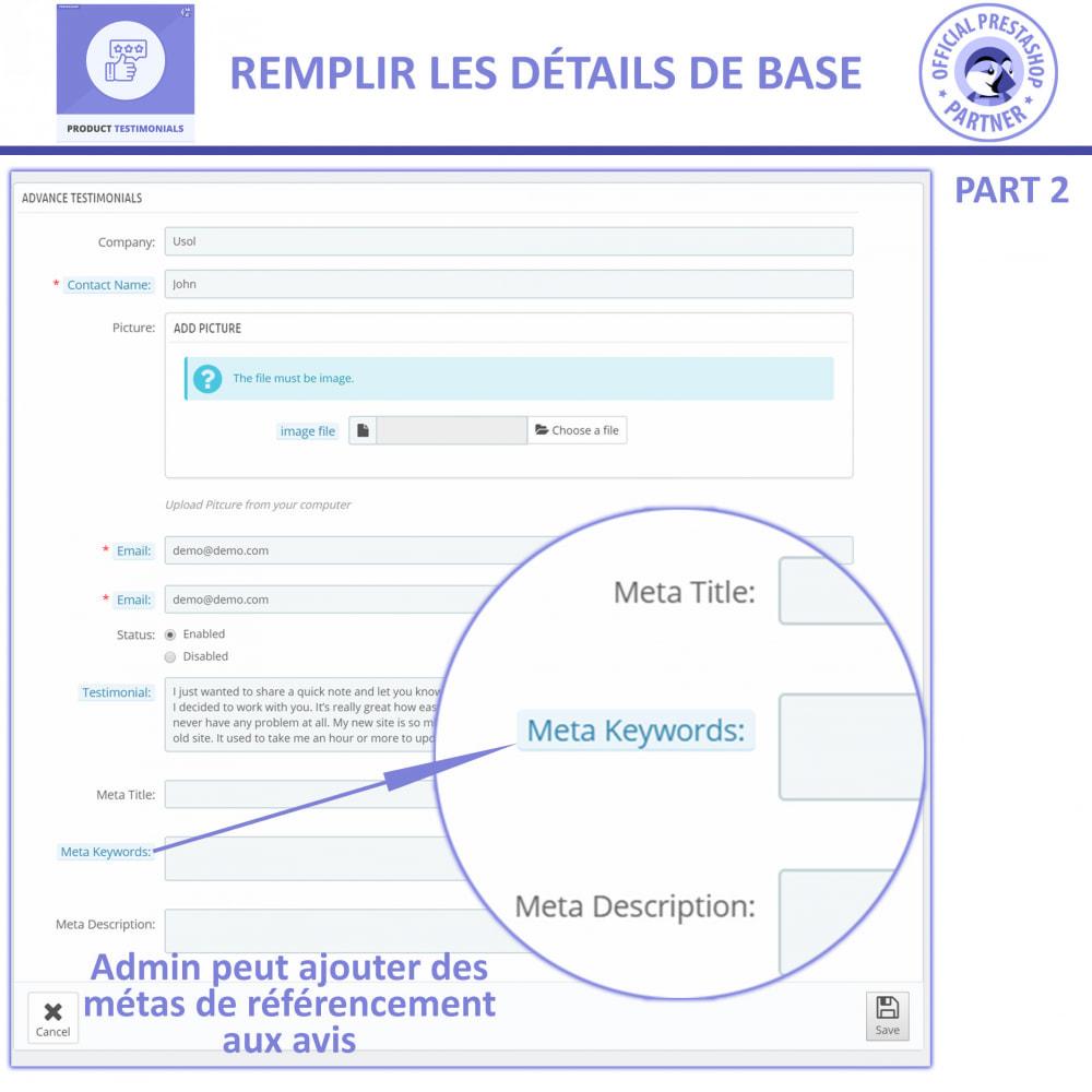 module - Avis clients - Revues de Produits + Témoignages de Magasins - 6