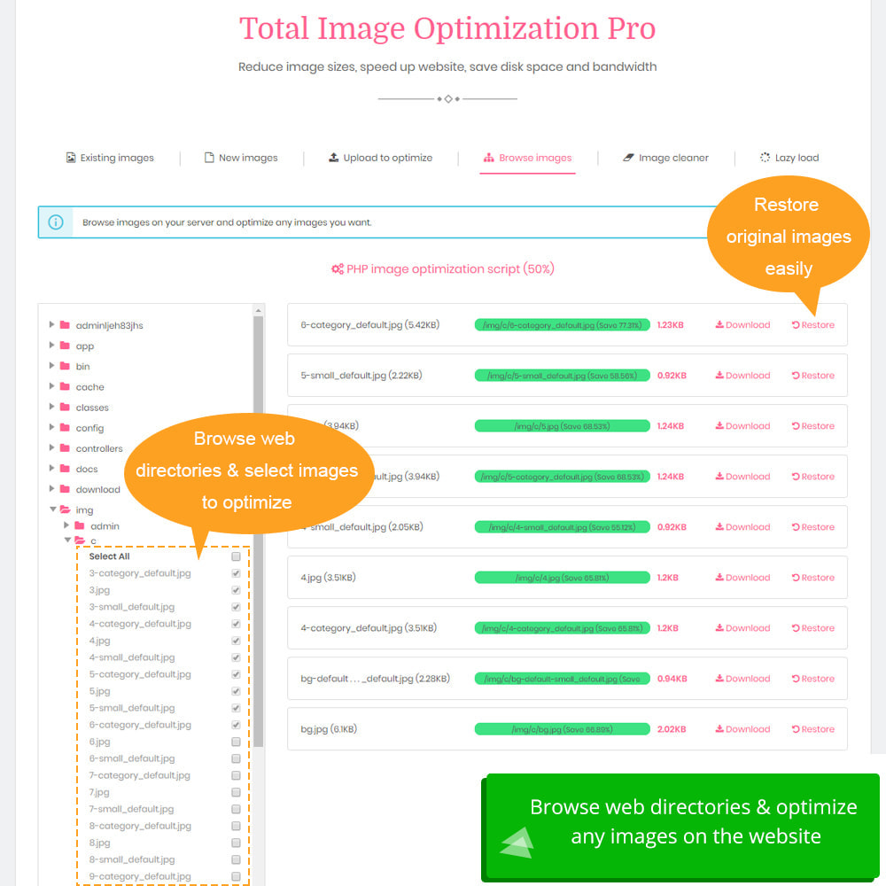 module - Website performantie - Total Image Optimization Pro - Lossless compression - 8