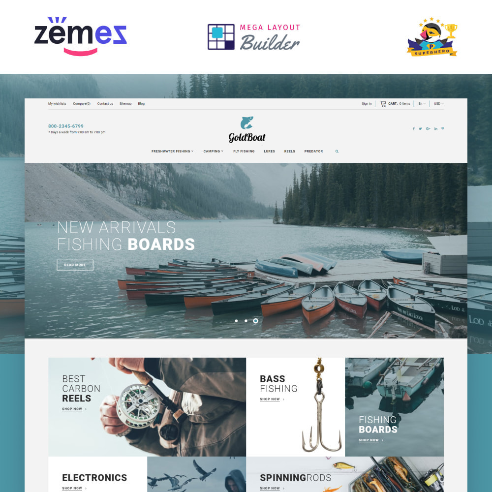 theme - Спорт и Путешествия - GoldBoat - Fishing Shop - 1