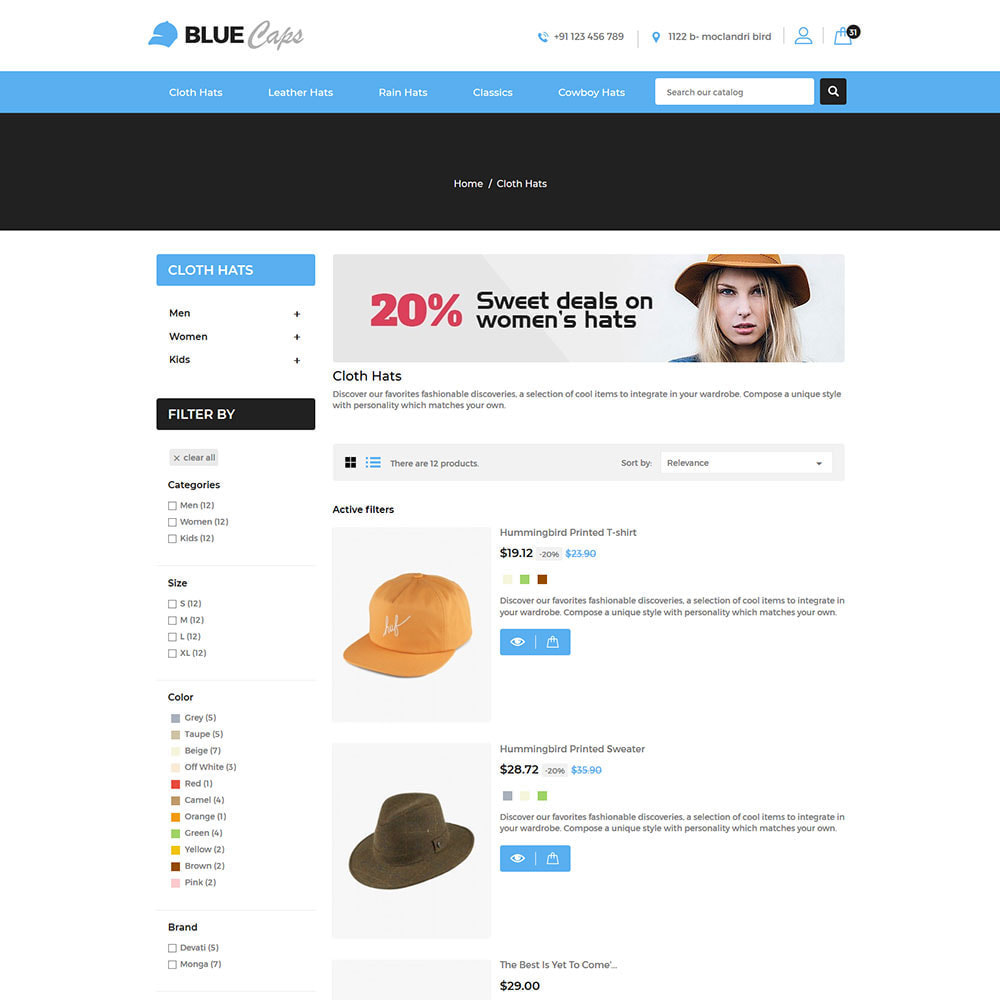 theme - Moda & Calçados - Blue Caps  - Fashion Accessories Hats Store - 4