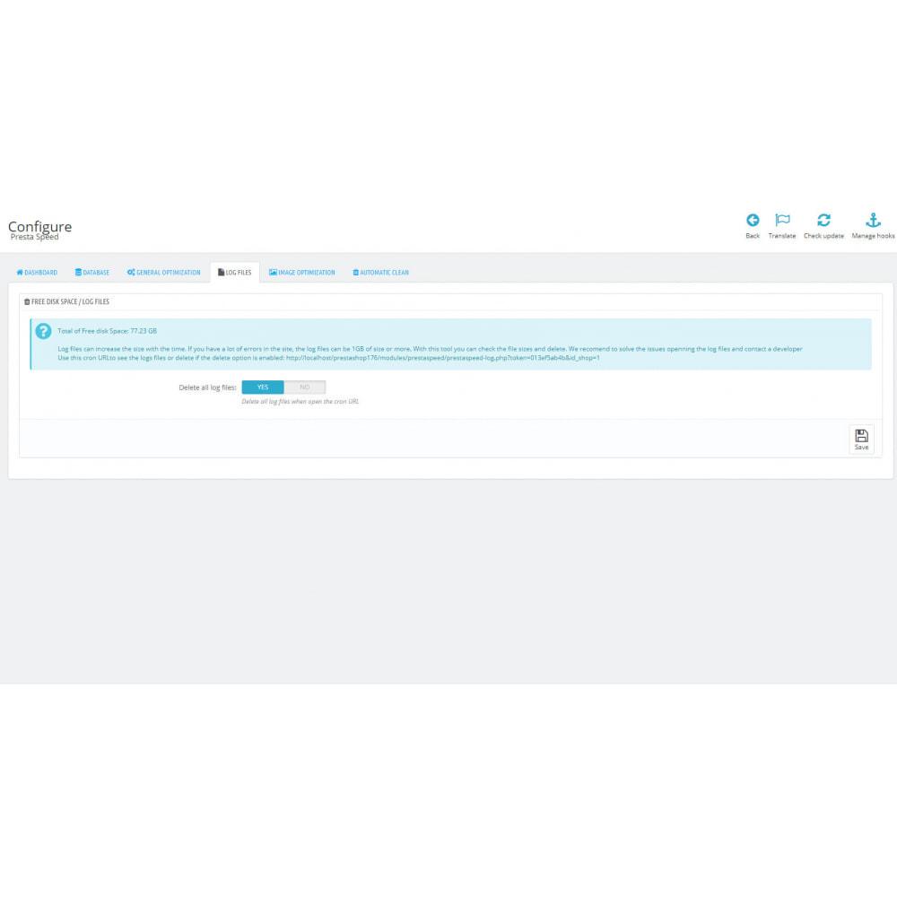 module - Website performantie - PrestaSpeed - Image / site / database optimization - 6