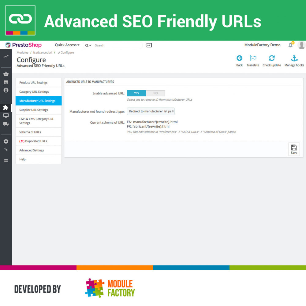 module - Управления адресами URL и перенаправлением - Advanced SEO Friendly URLs - 3