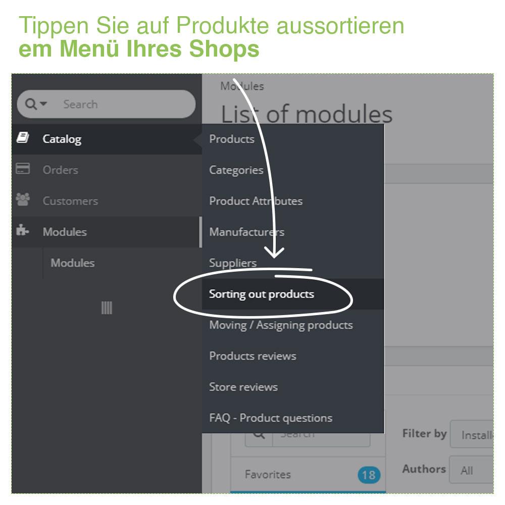 module - Quick Eingabe & Massendatenverwaltung - Sortierung der Produkte nach Kategorie - Bestellung - 2
