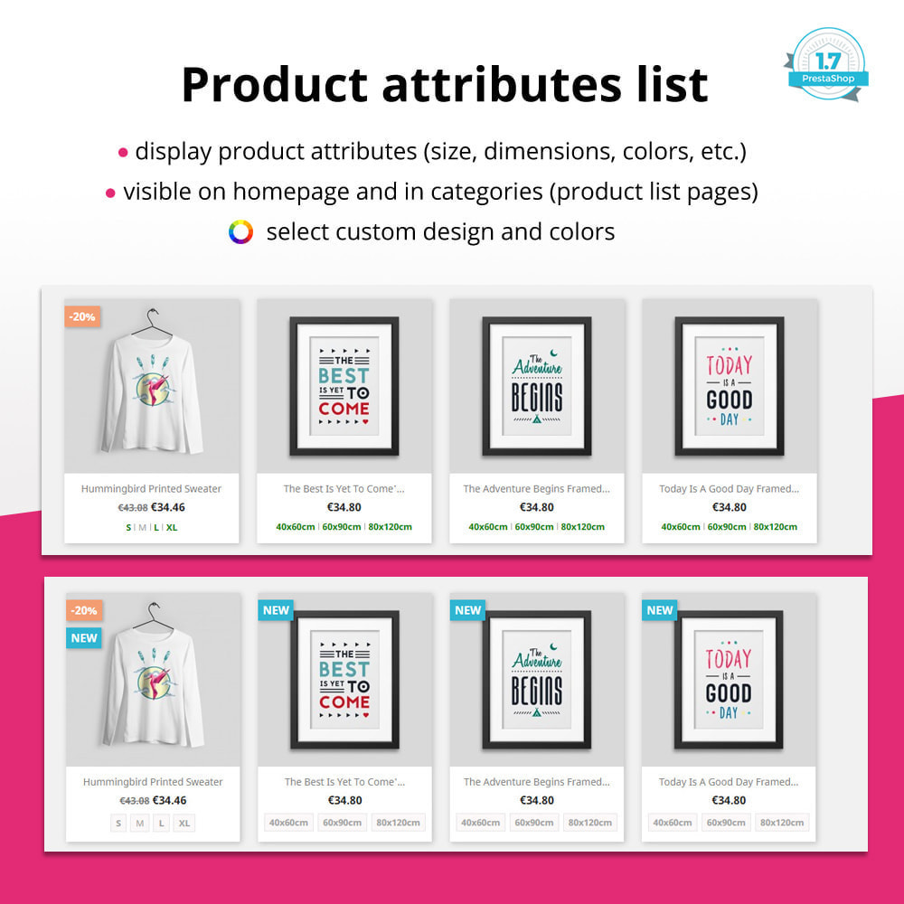 module - Diversificação & Personalização de Produtos - Product attributes / combinations in category - 1