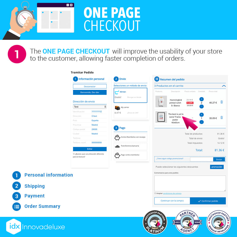 module - Express Checkout Process - One page checkout - Fast purchase process - 2