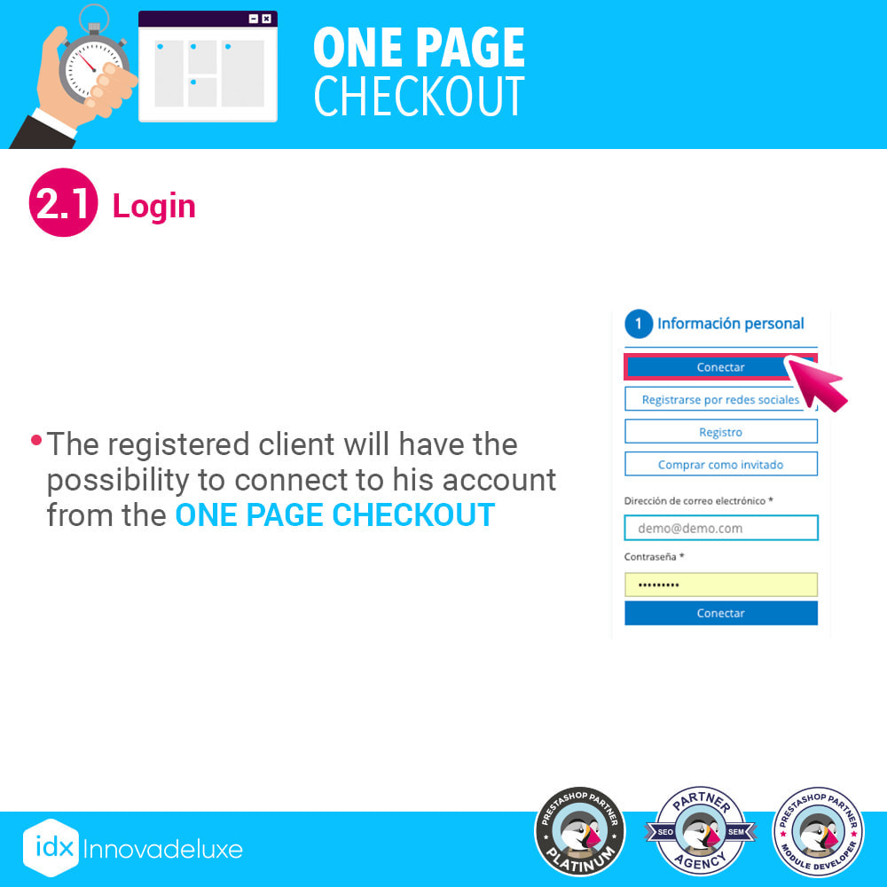 module - Express Checkout Process - One page checkout - Fast purchase process - 4