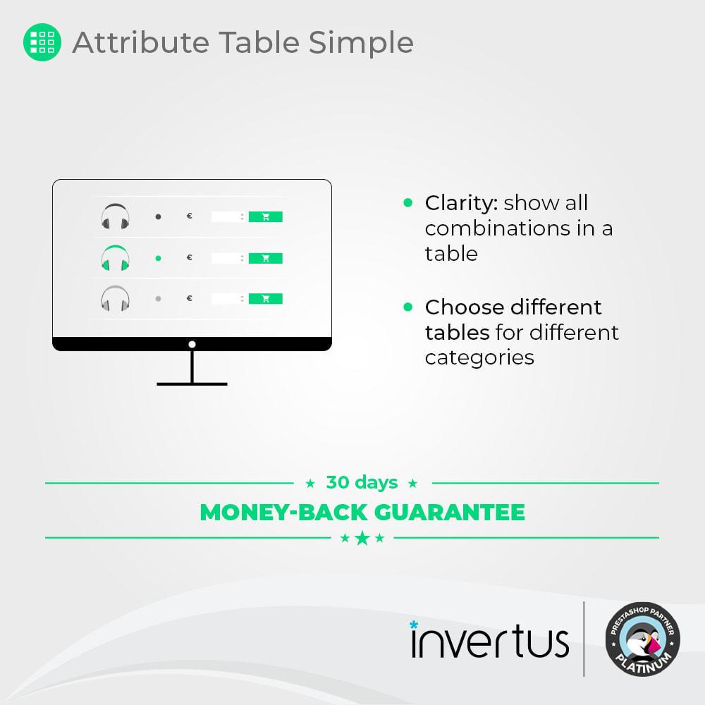 module - Combinazioni & Personalizzazione Prodotti - Attribute Table Simple - For Product - 2