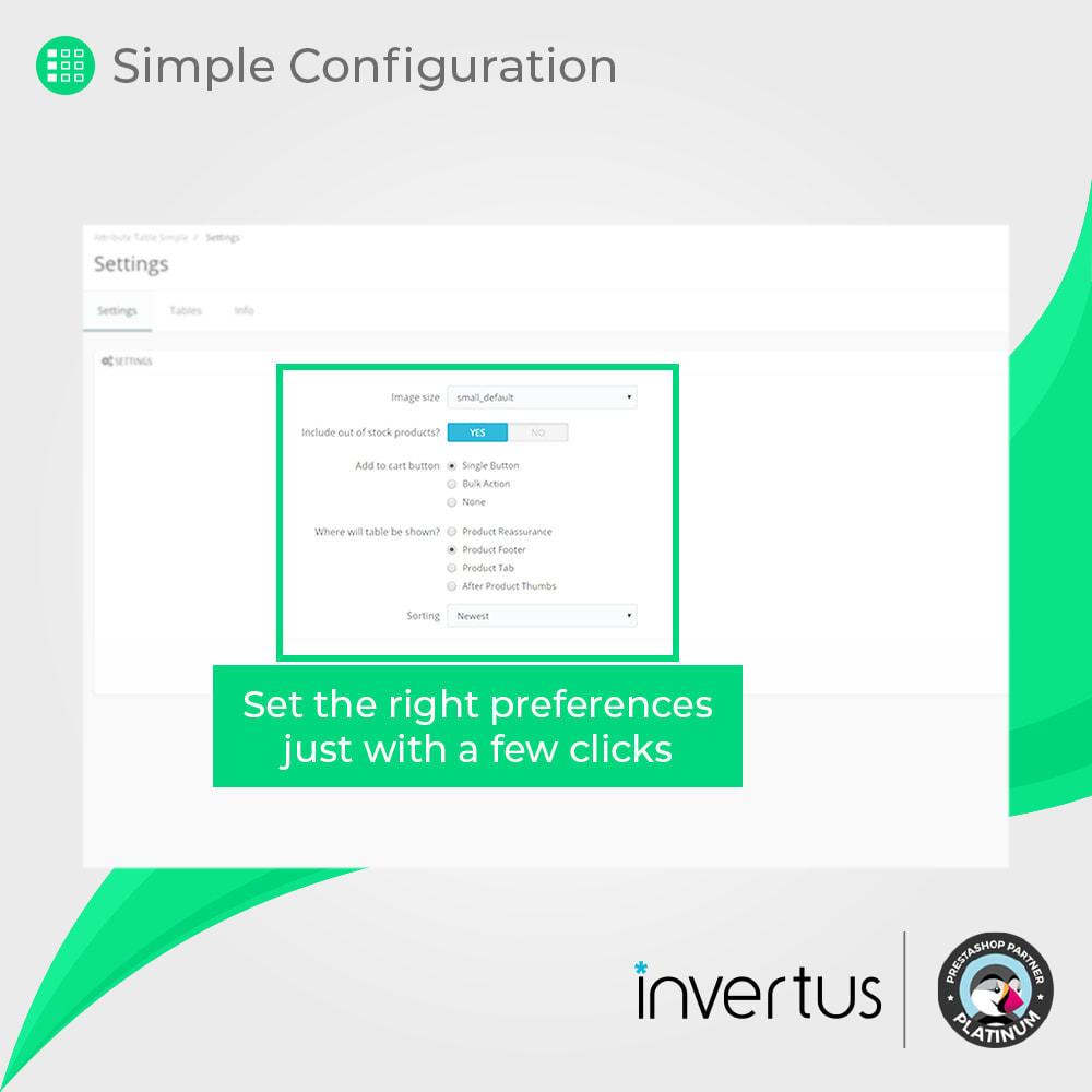 module - Combinazioni & Personalizzazione Prodotti - Attribute Table Simple - For Product - 6