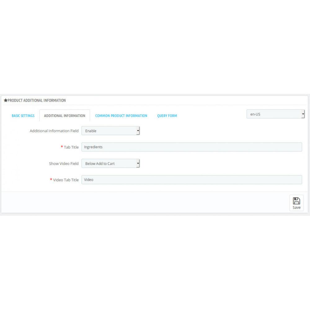 module - Dodatkowe informacje & Zakładka produktu - Product Additional Information, Extra Tabs and Enquiry - 6