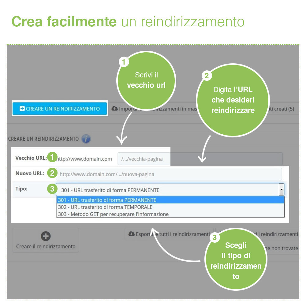 module - URL & Redirect - Reindirizzamenti, Redirect 301, 302, 303, 404 URL - SEO - 2