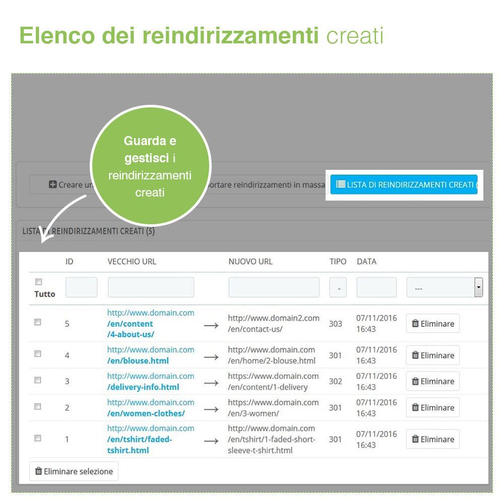 module - URL & Redirect - Reindirizzamenti, Redirect 301, 302, 303, 404 URL - SEO - 4
