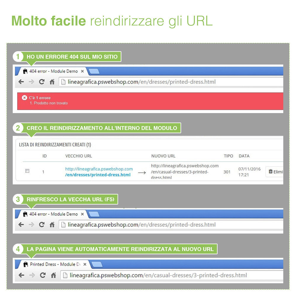 module - URL & Redirect - Reindirizzamenti, Redirect 301, 302, 303, 404 URL - SEO - 8