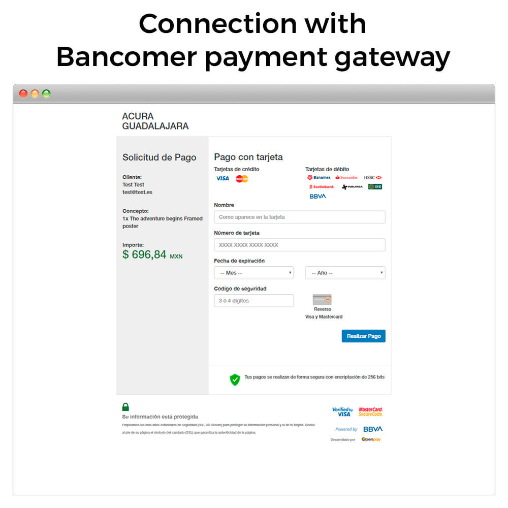 module - Płatność kartą lub Płatność Wallet - BBVA Bancomer Mexico - Payment with card (Virtual POS) - 3