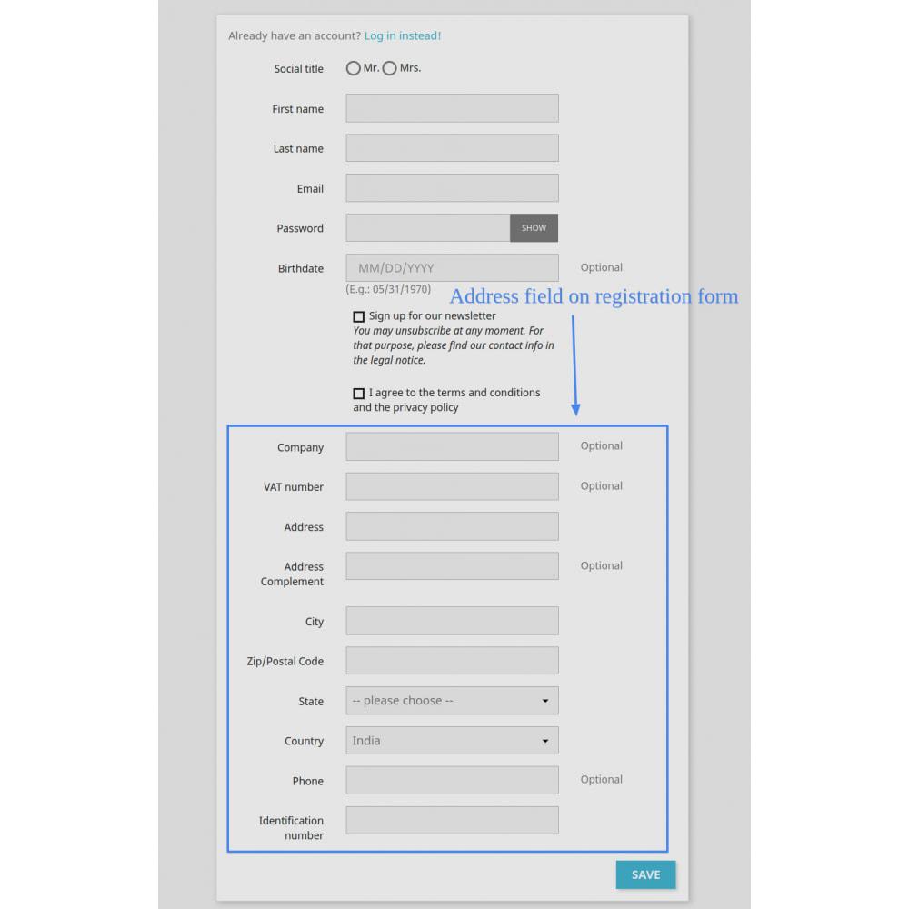 module - Cadastro e Processo de Pedido - Add Customer Address On Registration Form - 4