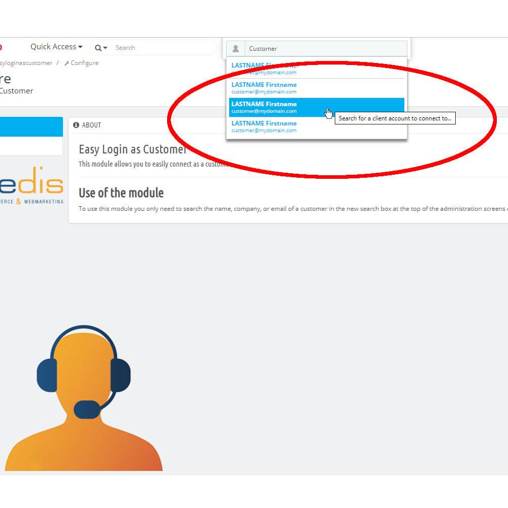 module - Cadastro e Processo de Pedido - Easy login as Customer - 2