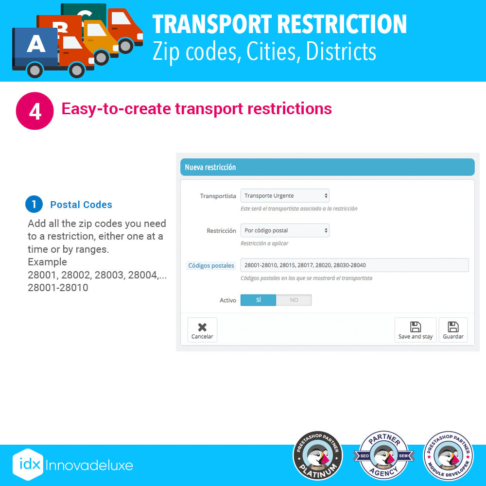 module - Vervoerder - Restricting Carriers by Zip Code, District, or City - 5