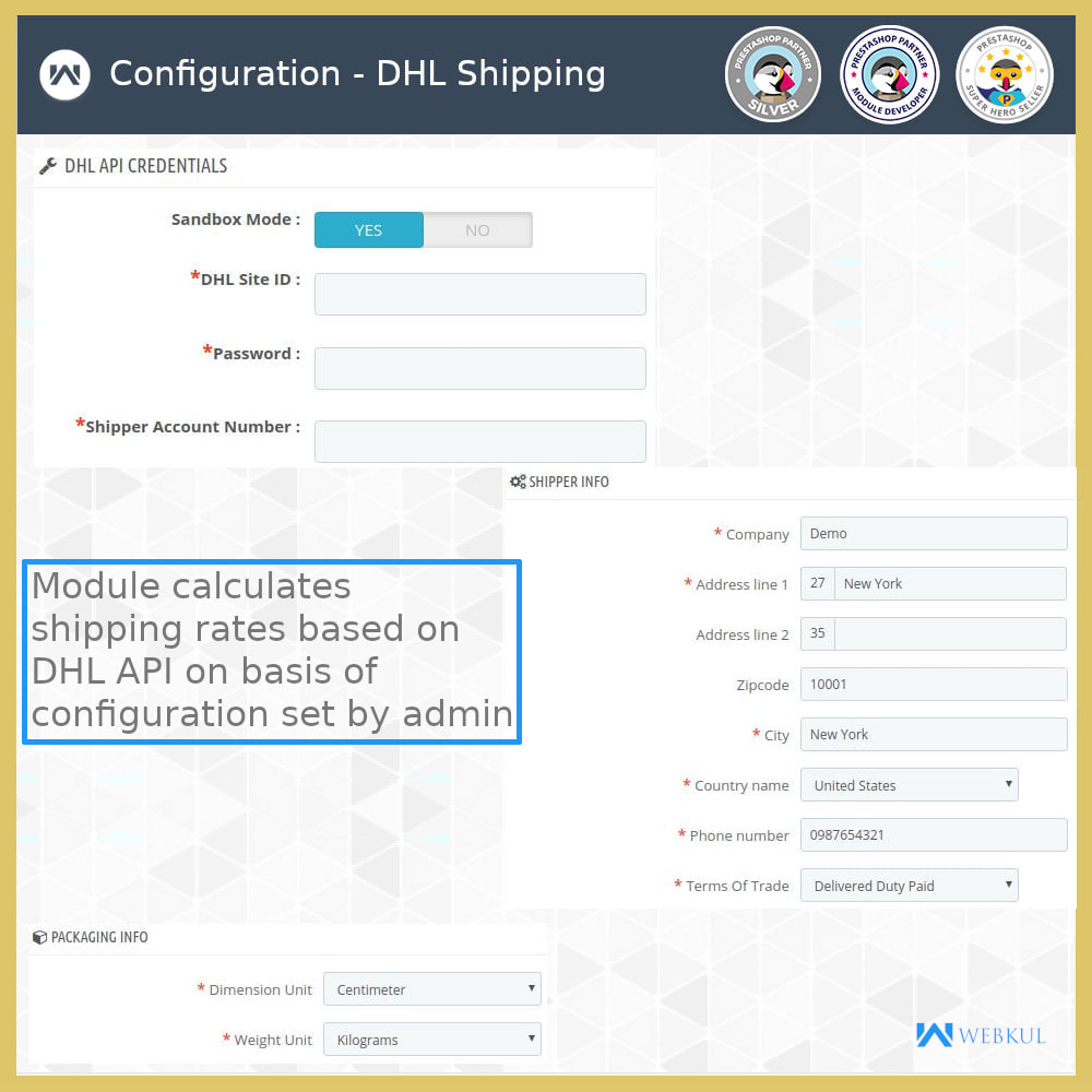 module - Transportadoras - DHL Shipping with Label Print | API Based Shipping - 5