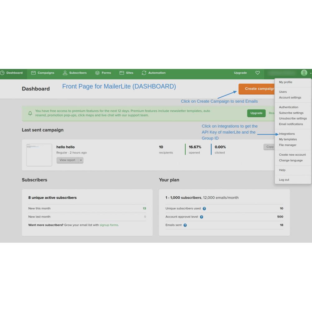 module - Рассылка новостей и SMS - Automatically subscribe MailerLite Subscription - 4
