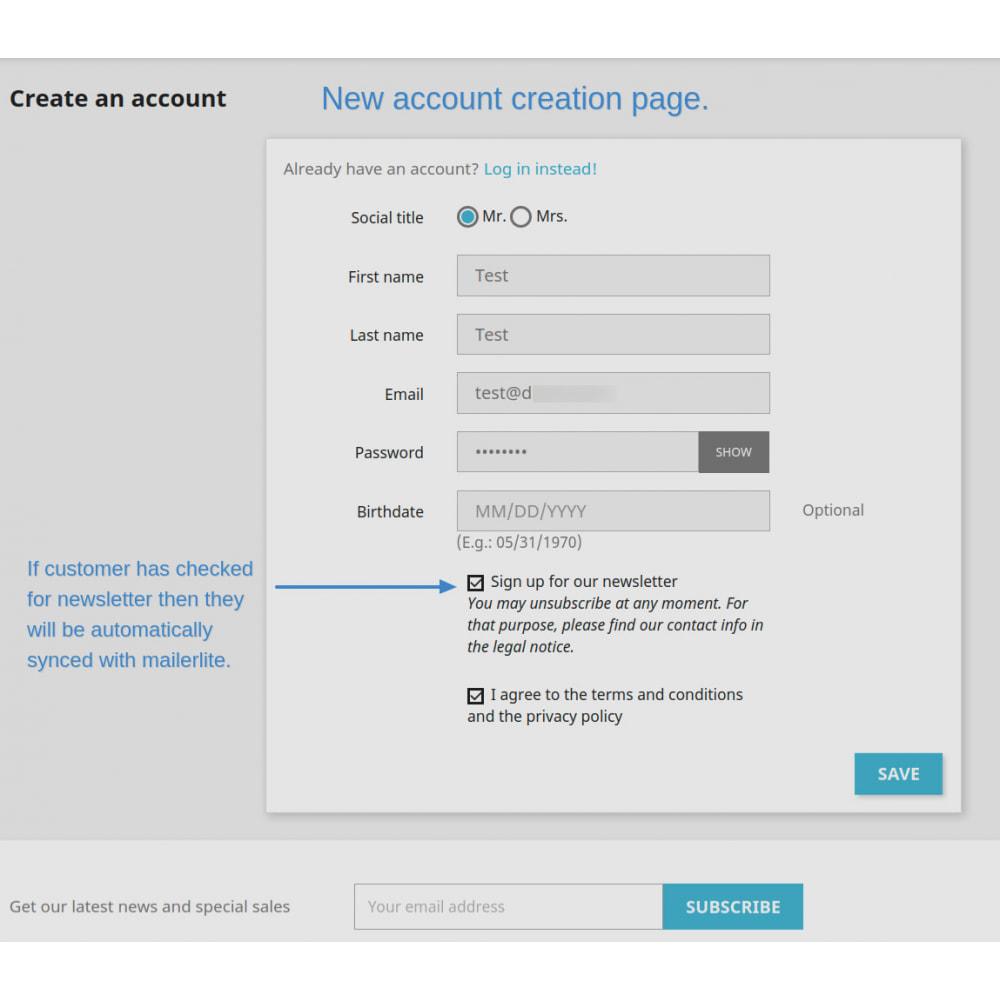 module - Рассылка новостей и SMS - Automatically subscribe MailerLite Subscription - 6