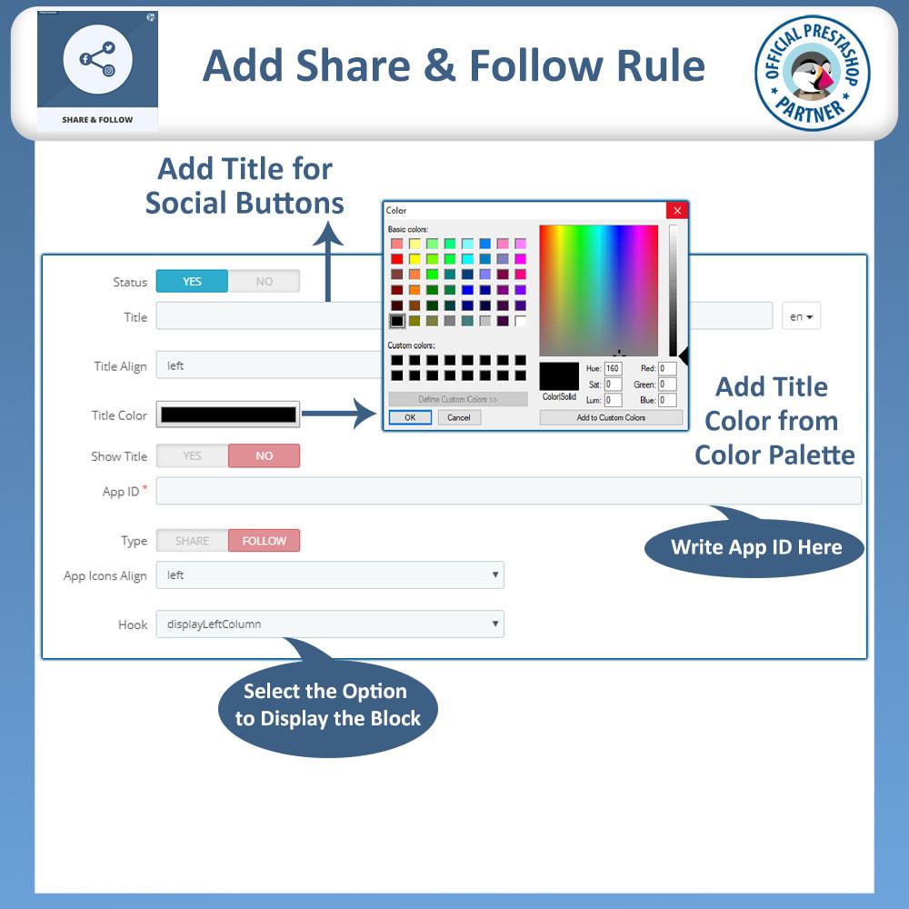 module - Compartilhamento & Comentários - Share and Follow - Social Widget - 9
