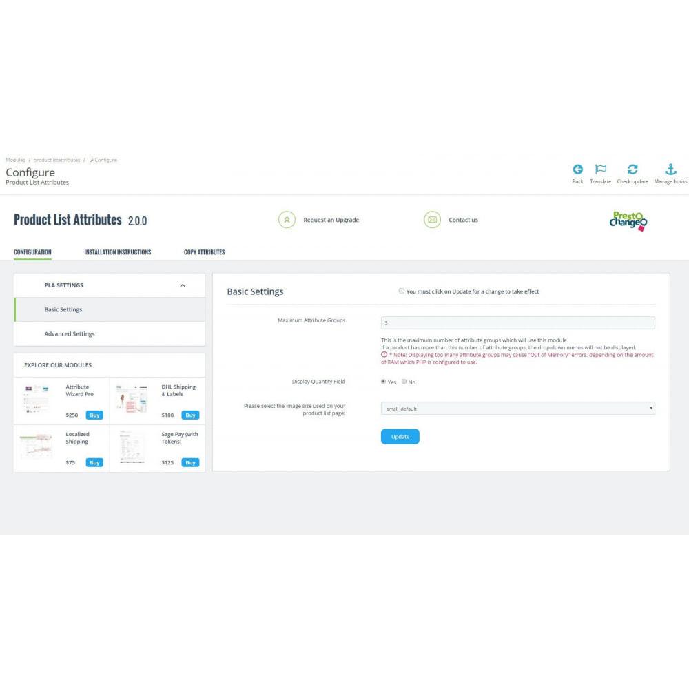 module - Deklinacje & Personalizacja produktów - Product List Attributes - 3