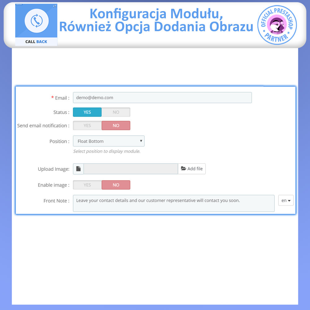 module - Wsparcie & Czat online - Call Back - Fixed & Floating Call Back Form - 5