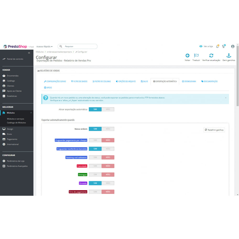 module - Importação & exportação de dados - Exportações e Relatórios de Pedidos Avançados - 8