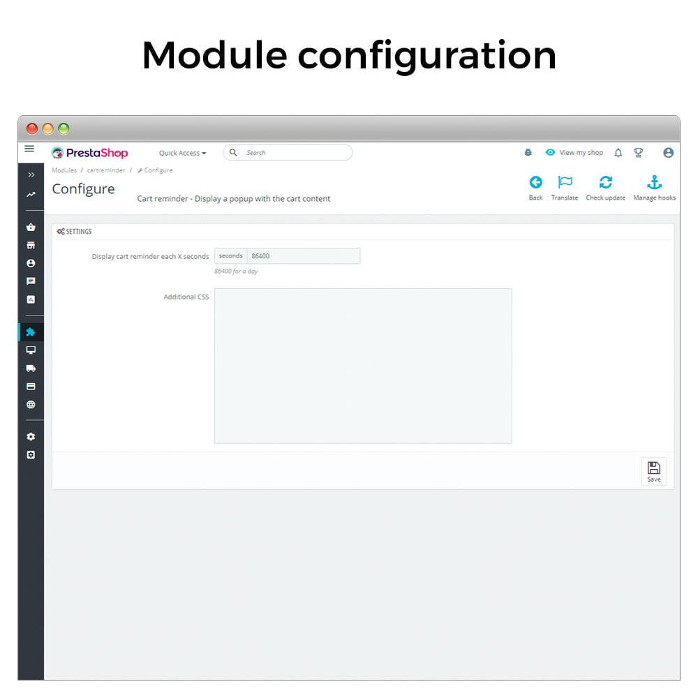 module - Remarketing & Paniers Abandonnés - Cart reminder - Popup with the cart content - 7