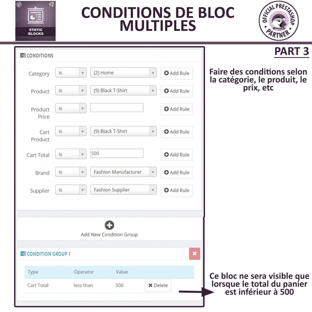 module - Blocs, Onglets & Bannières - Blocs Statiques - Ajouter HTML, Texte, Blocs de Média - 9