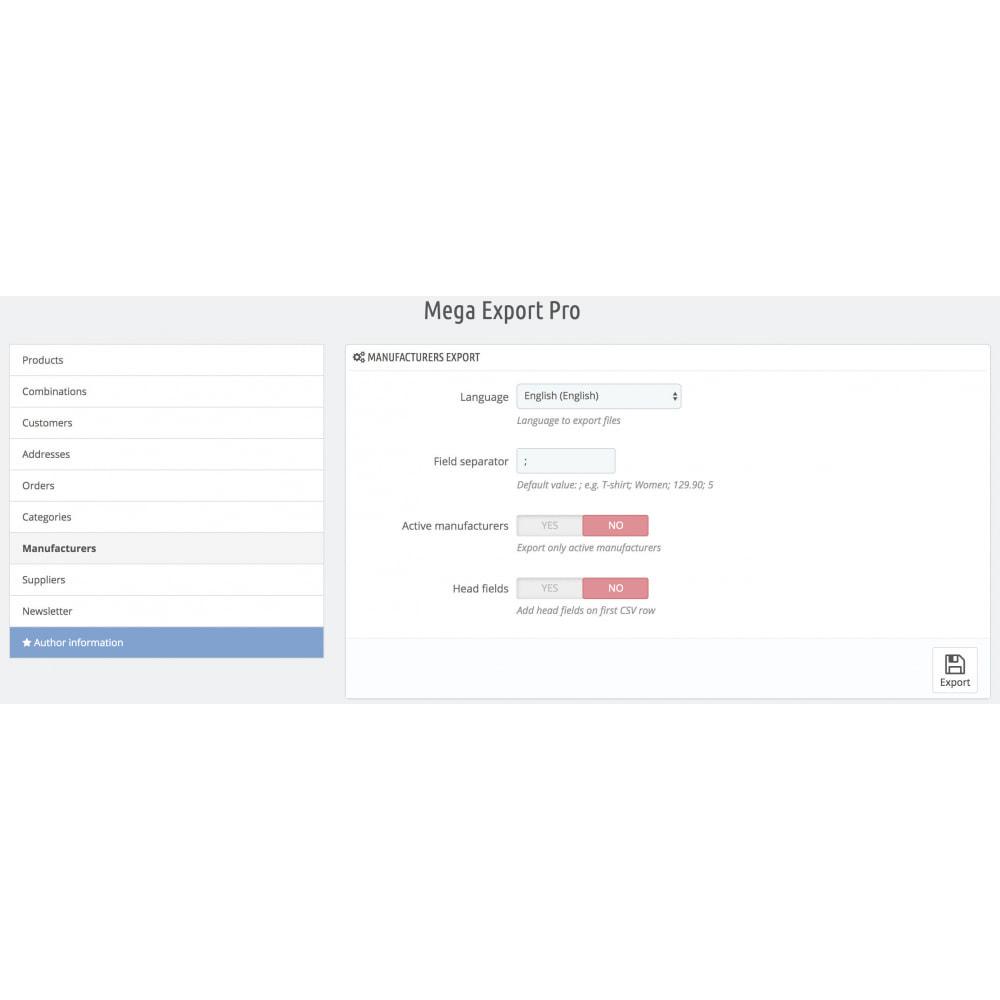 module - Importeren en Exporteren van data - Mega Export Pro - 9