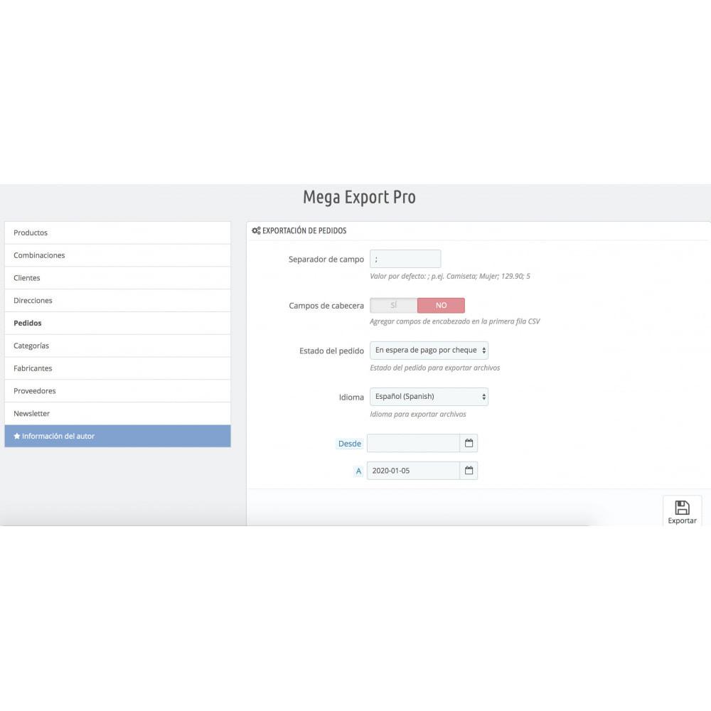 module - Importación y Exportación de datos - Mega Export Pro - 6